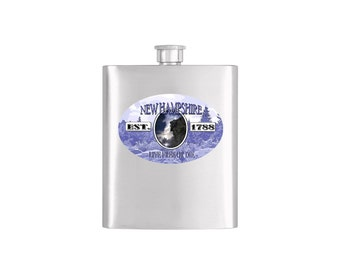 New Hampshire Old Man of the Mountain Flask - Stainless Steel 8 oz Liquor Hip Flask - Flask #317