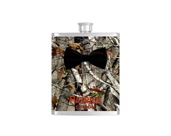 Black Bow Tie Groomsmen Camoflauge Bow Tie Flask with FREE Funnel - Mens Stainless Steel 8 oz Liquor Hip Flasks - Flask #344
