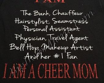I AM A CHEER MOM t-shirt ~ Glitter
