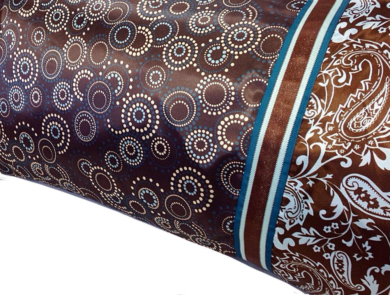 Brown Amp Blue Satin Pillowcase Geometric And Paisley