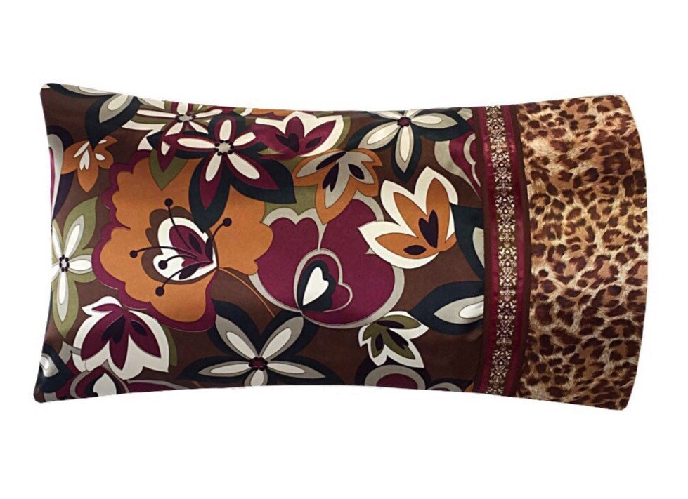 Purple Brown And Gold Pillow Case Satin Pillowcase Leopard