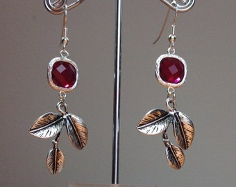 Dark red crystal and tree branch earrings