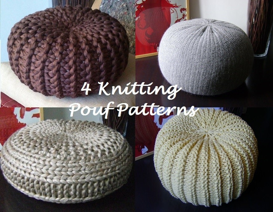 KNITTING PATTERN 4 Knitted Pouf Floor cushion Patterns
