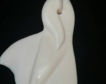 Hand - carved bone whale tail pendant-bone pendant-whale pendant-whale tail-bone jewelry