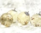 Pendant gift, Dandelion necklace, Pendant resin dandelion puffs, resin dandelion, Ball resin pendant, resin slight yellow tint
