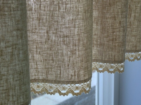 Natural Linen Cotton Cafe Curtain Valance With Cotton