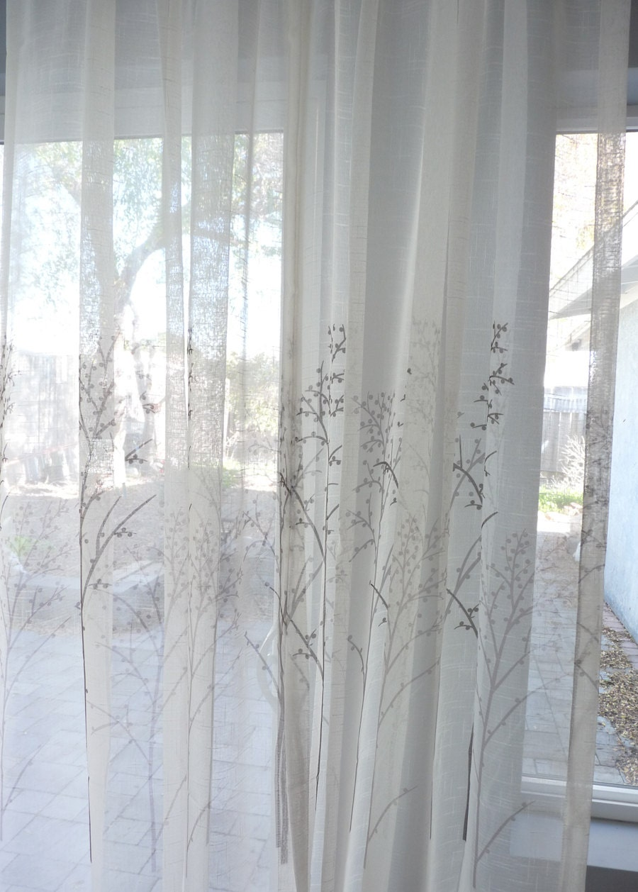 Off White Sheer Curtain Voile Panel With Printed By