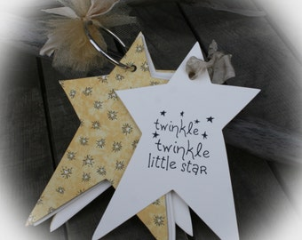 25 WISHTag Book-Book Baby Shower- Guest book alternative and wishing tree tags all in one-Twinkle Twinkle Little Star-Ivory Tag/Gold ribbon