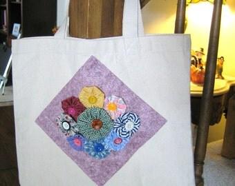 Yo Yo Patchwork Canvas Tote - Gift Bag