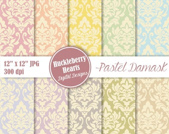 80% OFF SALE Digital Damask, Damask Digital Paper, Pastel Damask