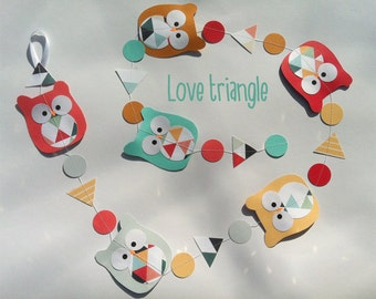 Owl garland : Love triangle