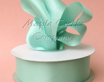 1.5 inch x 50 yards of Aqua Double Face Satin Ribbon