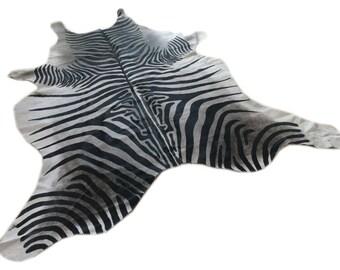 Cowhide Rug ZEBRA BLACK WHITE Unique!  a271 7.6 x 6.6 ft Peau de Zebre  Piel de Vaca Impresa Cebra