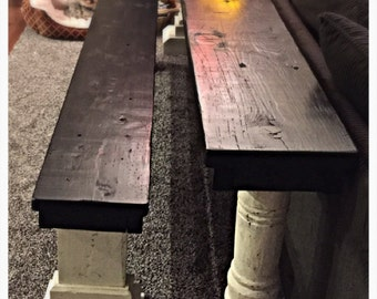 Handmade sofa table with bench seat