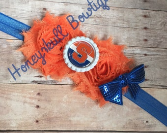 NY Syracuse Headband in Orange and Blue- You pick your Image, colors and size #S002