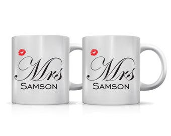 Set of 2 Hers and hers gay wedding mugs lips personalized
