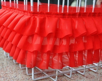 3 Layers High Quality Red Chiffon Fold Lace Trim DIY Handmade Accessory 10cm wide. 1 yard E8066