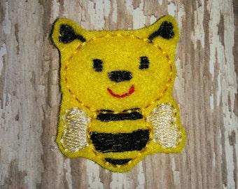 Set of 4 Bumble Bee Bug Feltie Felt Embellishment Bow! Birthday Party