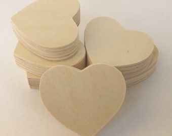 "Free Shipping! 6 pieces Unfinished Wood Hearts Cutouts / Blocks 2"" x 5/8"""