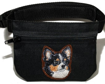 Embroidered dog treat waist bag. Breed - Chihuahua, Chiwawa. For dog shows and training. Great gift for breed lovers.