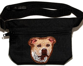Staffordshire Bull Terrier (Staffy) embroidered dog treat waist bag (treat pouch). For dog shows and training. Great gift for dog lovers.