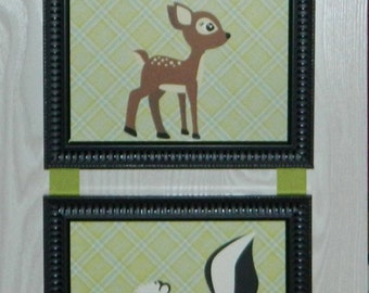 Kids Room Nursery Woodland Animal Deer, Skunk, Bear Picture Collage Wall Hanging Art 4x6