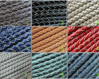 5mm Braided leather cord 5mm Round leather strip Thick braid leather cord
