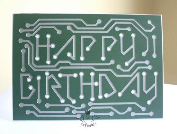 Happy Birthday Circuit Board 5x7