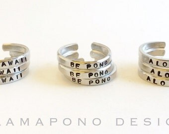 Adjustable aluminum rings ~ Hawaii ~ Be Pono ~ Aloha ~ Personalized metal stamped jewelry