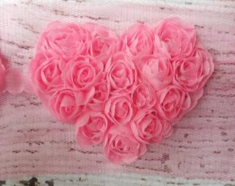 """Pink 2.5"""" Chiffon Heart Trim,Chiffon Ribbon Heart, Headband Supplies,Wholesale"""