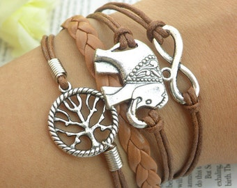 Brown Leather Bracelet Elephant Infinity Tree of Life Charms Silver Color Friendship Braclet CH-41