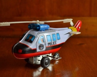 Vintage Wind-Up Police Helicopter