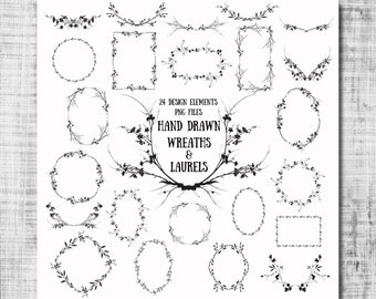 Wreaths & Laurels Digital Clip Art - wildflower wreaths laurels foliage png files for scrapbooking, invitations, photography templates