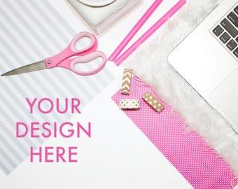 Styled Desk Stock Photo | Pink Black Gray Desktop Photo | Stock Image | Scene Background | Stock Photo