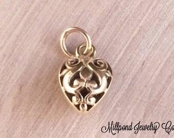 Heart Charm, Filigree Heart Charm, Bronze Heart Charm, Hollow Filigree Heart Charm, Bronze Charm, Bronze Pendant