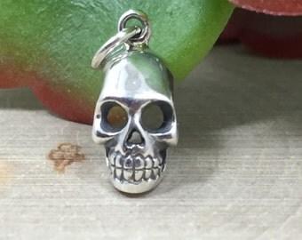 Skull Charm, Skull Pendant, Silver Skull Charm, Sterling Silver Skull Pendant, Silver Charm, Silver Pendant, Bones, Skeletons, PS01302