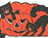 Vintage Halloween die cut black cat and JOL pumpkin digital download printable image 300 dpi