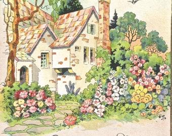 Vintage Art Deco floral cottage birthday card greetings digital art image digital download art image clip art