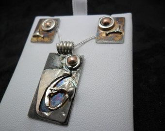 Set pendant and earrings set in sterling silver with copper