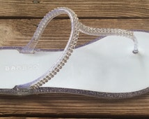 RIO SANDAL Bride and Bridesmaid getting ready sparkly silver jelly sandals, flats  Perfect to wear with your wedding robe, beach