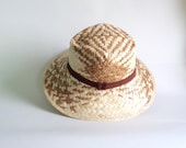 VINTAGE Straw Hat / Gardening Hat / Summer Hat / Beige and Brown Straw Hat / Beach Hat / Unisex