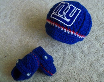 New Handmade Crochet  New York Giants Baby Boy Hat and Booties (0-3 months, 3-6 months)