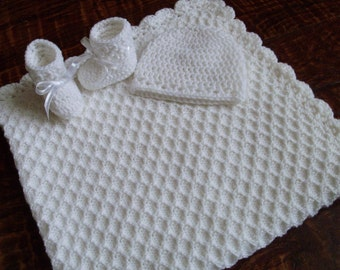 Knit/Crochet Personalized White Baby Blanket, Hat and Booties (33x33. acrylic)