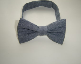 Chambray baby boy bow tie with velcro adjustable fastening