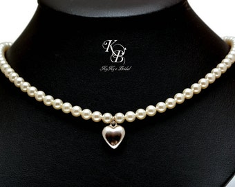 Heart Jewelry Puffed Heart Necklace Bridal Necklace Wedding Jewelry Heart Pendant Necklace Pearl Bridal Jewelry FREE Gift Box
