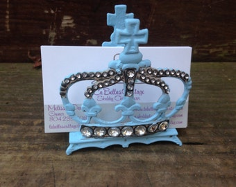 Business Card Holder, Shabby Chic Card Holder, Blue Business Card Holder