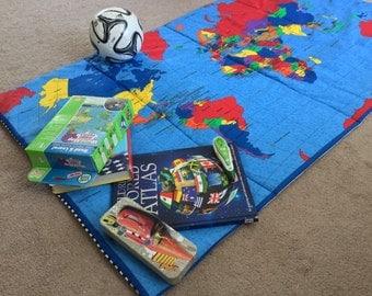 Nap Mat / Play Mat / Sleeping Mat/ world map fabric / blue and white strips backing