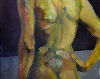 Yellow Back | FIne Art Life Study | Art  Print of a Figure Painting | Originally Oil on Canvas