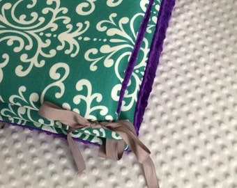 Crib Bumpers - Teal Damask with Purple Minky Dot