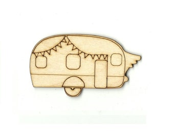 Camper -  Laser Cut Out Unfinished Wood Shape Craft Supply CAR75